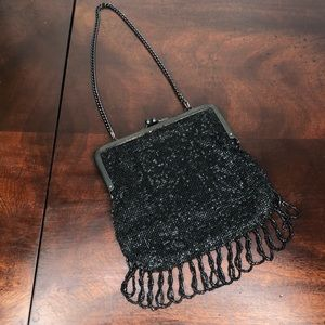 Beaded Black & Gray Handbag Made in Germany